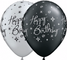 Sparkles Black & Silver 25pc - 11 Inch Balloons